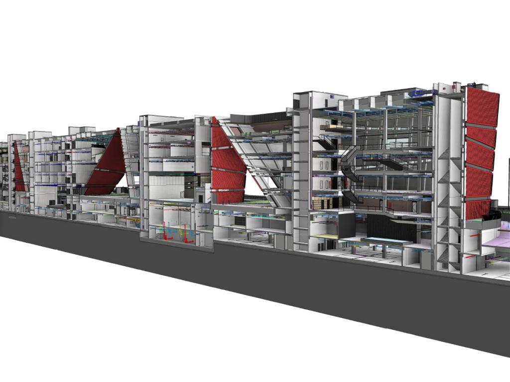 cultural centers & bookmall - 3D section shenzhen revit model