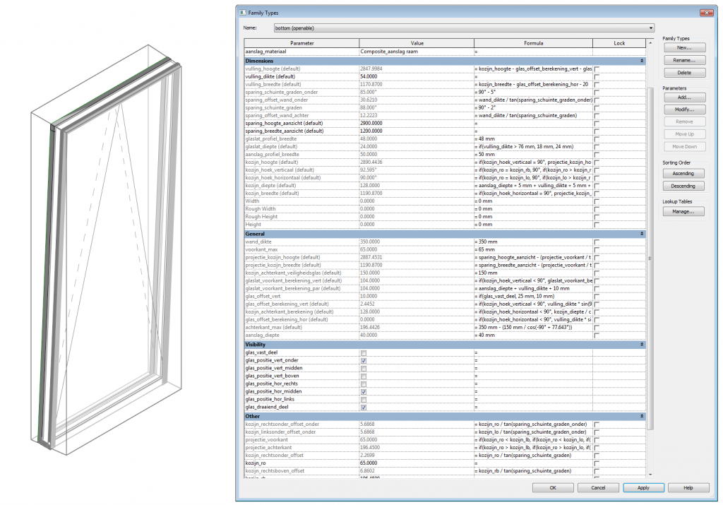 parameters of tiltable window family - bottom openable