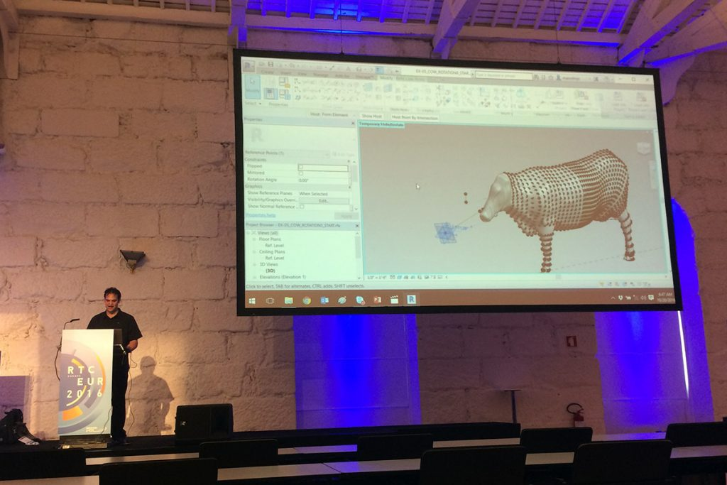 Marcello at RTC Europe showing the revit cow with a moving head